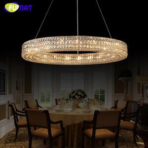 FUMAT Modern Kristal Avize Cilası K9 Cristal LED Yuvarlak Işık Halka Kristal Asılı Lamba Oturma Odası için Kapalı Lamba