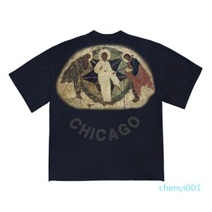 20SS JESUS IS KING Tee Three Gods Religious Oil Painting T-Shirt Vintage Short Sleeves Summer Street Men Women T-shirtt c01