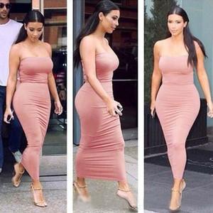 كيم كارداشيان الفساتين المرأة غمد حمالة اللباس Bodycon الصيف حلوى لون مثير فستان طويل