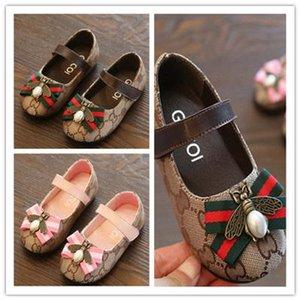 Çocuklar Tasarımcı Prenses Deri Ayakkabı Kız Lüks Daire Ayakkabı Çocuk Moda Casual Ayakkabı Arı Dekorasyon Bebek Çocuk Sneakers 2020 Yeni Baskı