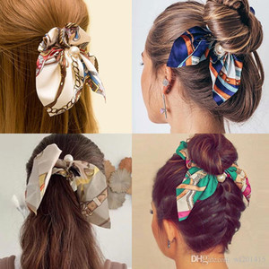 17colors Bowknot Elastic Hair Bands Elegant Women Pearls Hair Scrunchies Ponytail Holder Tie Rope Hair Accessories