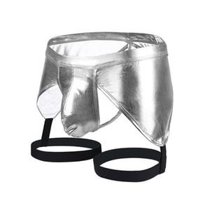 lingerie homens sexy sexy boxer calções Pu cueca de couro gays calcinha cueca Masculina de marca homme homens clube desgaste