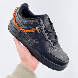 latest casual shoe Custom Low Time Out Air One Utility Orange Black Men Running Shoes Forces Sneakers Trainers 1s Sports Skate shoes