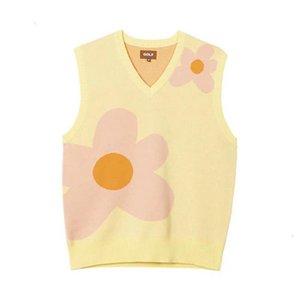 19SS 골프 왕 핑크 꽃 패턴 스웨터 민소매 조끼 고품질 패션 스트리트 겉옷 남성 여성 커플 공구 노란색 HFHLMJ001