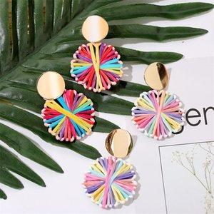 New Boho Handmade Weave Multicolor Geometric Raffia Drop Earrings For Women Trendy Round Summer Statement Earring Jewelry Gifts