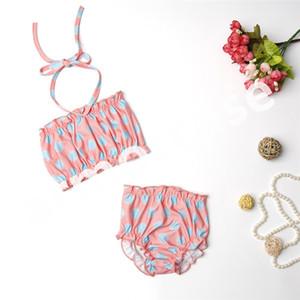 Puntos cabritos de la impresión del traje de baño verano de los bebés de la playa Bikinis niños de los sistemas de metro de Cultivos Top + Calzoncillos Pantalones cortos del traje de baño del niño de baño Traje CZ414