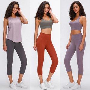10 colori delle donne dei pantaloni di yoga versioni soft-feel Nudo Athletic Fitness Lu ghette delle donne elastica vita alta Palestra Sport Collant allenamento