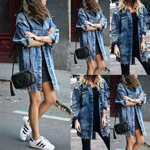 Kadın Uzun Ceket Yama Denim Yeni Dış Giyim Delik Jeans Bule Coat Casual Ripped