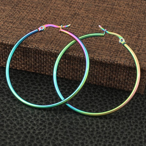 Fashion 6Pair Pack Rainbow Color Round Hoop Earrings Simple Party Round Loop Earrings for Women Jewelry
