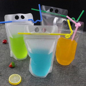 Clear Drink Pouches Bags frosted Zipper Stand-up Plastic Drinking Bag with straw with holder Reclosable Heat-Proof 17oz 400pcs