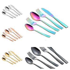 Juego de vajilla de acero inoxidable de 5 colores 5 unids/lote color plateado tenedor cuchara cuchillo regalo cubiertos herramientas de cocina barware T2I5819