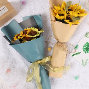 Beautiful Sunflower Bouquets Artificial Flower Handmade for Teachers' Day Gift DIY Packing Material 66CY