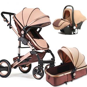1 Bebek Arabası Taşınabilir Yüksek Peyzaj Altın Siyah Bebek Arabası Katlama Yenidoğan Bebek Arabası içinde Fonksiyonlu 3