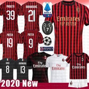 MEN Zlatan Ibrahimovic 7 S.CASTILLEJO AC Milan camiseta de fútbol ROMAGNOLI 8 SUSO 10 Calhanoglu BORINI camiseta de fútbol piątek Paquetá CUTRONE