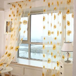 1PCS Romantische Sonnenblumen Vorhänge Transparent Balkon Drape-Panel Transparenter Tüll für Wohnzimmer Schlafzimmer Voile Gardinen