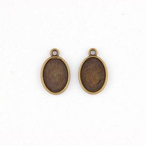 Fit 13x18mm Oval Antik Bronze Anhänger Einstellung Cabochon Cameo Basis Tablett Lünette Blank DIY Schmuckzubehör
