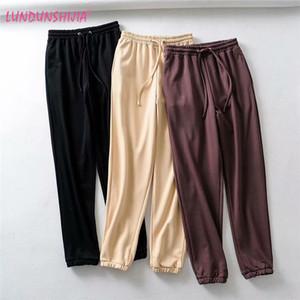 LUNDUNSHIJIA Nueva Llegada 2019 Primavera Otoño Mujeres Casual Pantalones de Chándal Moda Suelta Buena Calidad Pantalones Para Mujeres