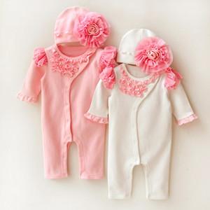 Дизайнер-Hot Princess Стиль Новорожденные Romper Baby Girl одежда Set Мягкие девушки Lace Rompers Шляпы 2 шт костюм цветка для новорожденных Комбинезон Подарки