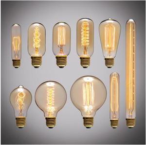 Retro Edison Ampul E27 220 V 40 W ST64 G80 G95 T10 T45 T185 A19 A60 Filament Akkor Ampul Ampuller Vintage Edison Lamba