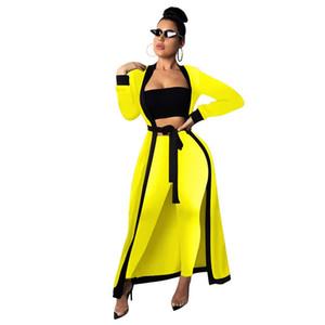 new style three pieces set women clothes suit long sleeve spring cloak+bra vest+long pant sexy women set