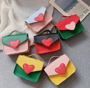 Fashion children bag girls love heart messenger bag kids patchwork color single shoulder bag purse lady style children handbag F9791
