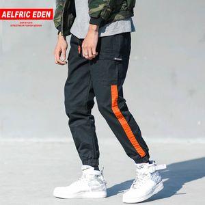 Aelfric Éden Harem Calças Dos Homens Hip Hop Basculadores Patchwork Stripe Faixa Casual Sweatpants Tornozelo-comprimento Justin Bieber Streetwear Kt75 Y19073001