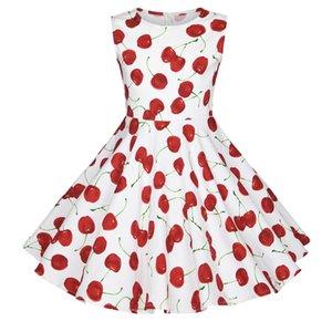 3 4 5 6 7 8 yaşında Küçük Çocuklar Çocuklar Pembe Doğum Günü Partisi Giydirme Cherry için Çiçek Yaz Bebek Kız Elbise