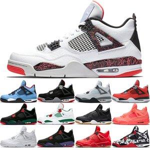 Nike Air Jordan 4 Retro Günstige New 4 4 s Männer Basketball Schuhe Kaktus Jack Houston Oilers Tattoo Singles Tag Weiß Zement Herren Trainer Sport Sneaker Größe 41-47
