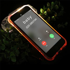 Creative led light up chamada de entrada tampa do flash anti-risco tpu voltar case para iphone 5s se 6 7 8 x para samsung huawei