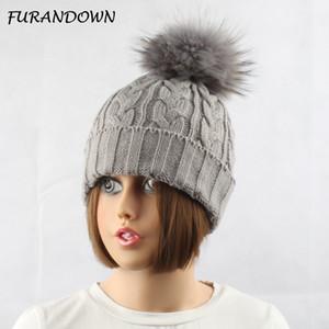 FURANDOWN Зимние меховые шапки для женщин Lady Теплое трикотажное Шерсть Beanie Cap окрашенная Природные Raccoon Fur Pompom Hat