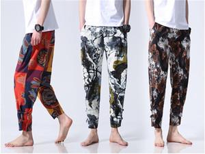 Mens Designer Pants florais Moda bolso dos retalhos com cordão Harem Pants Mens Mid cintura completa Calças Comprimento