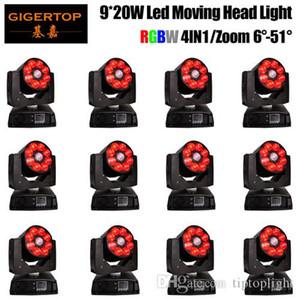 12 unità 9x20w Moving Head luci della fase del LED Luce Dj Wash Zoom Effetto 7 * 12W RGBW 4 della fase di colore Weddingled Led Fascio luci DMX512