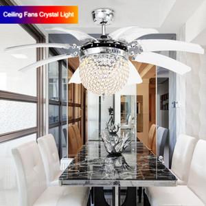 В наличии Невидимый кристалл светло-потолочные вентиляторы Современные Светодиодные хрустальные люстры Crasselier Creble Ceating Fans Crystal Light 220V 110V + пульт дистанционного управления