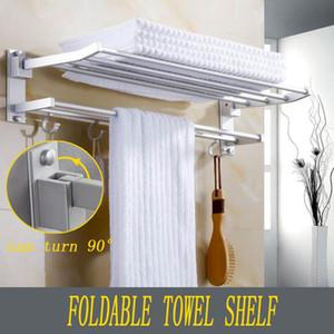 Xueqin 욕실 수건 선반 더블 수건 걸이 벽 공간 알루미늄 선반 후크 목욕 레일 56x7.2x3.5cm 바 장착