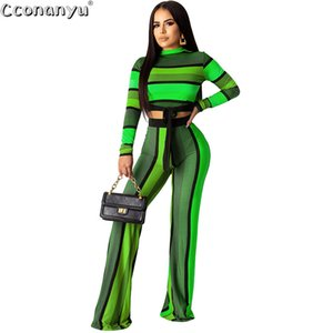 Elegant Striped print two-piece set Casual long-sleeved Top And Long Pants fashion temperament sweatsuit