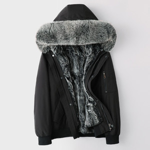 kış shearling ceket tilki kürkü kukuletalı erkek kısa gerçek kürk Parkas kar kalınlığında sıcak rüzgarlık dış giyim palto artı boyutu 5XL giymek