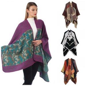 Multi Estilo Knitting vestuário Verifique Xaile Viajando Grande Fork tamanho da abertura Manto portátil Praia Scarf encobrimentos Primavera Outono 31ymaH1