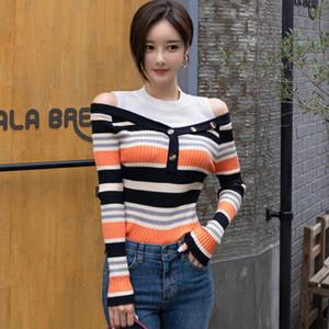 Remiendo de hombro Off otoño de punto de tela a rayas ocasionales Pullover Sweater costomes de la Mujer