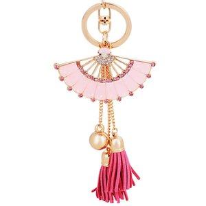 Chinois rose bleu cristal en forme mentale Fan Keychain doux Tassel voiture Porte-clés pour femmes filles Porte-Monnaie Portefeuille Bijoux cadeau