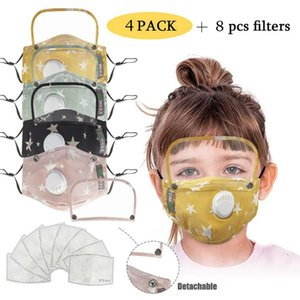 4 Pcs Fashion Respirator Kids Face-mask For Germ Protection With 8 Filters Cotton Mouth Face Maskswashable And Reusable Maskking