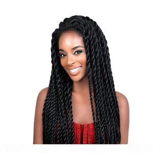 Braided Wigs For Black Women Black Color Synthetic Heat Resistant Fiber Hair Glueless Afro 2x Twist Braids Synthetic Braided Lace Front Wig
