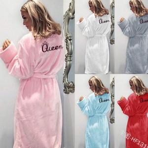 Reina de franela pijamas camisón Primavera Otoño Invierno Nightcoats ropa caliente mujer dormir cuerda