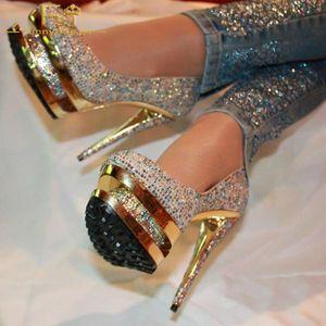 Rhinstone Gold Hollow Platform Thin High Heel Pumps Round Toe Shiny Prom Shoes Women Party Stage Handmade Blingbling FSJ