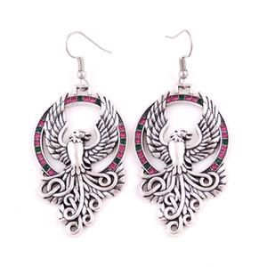 HL0077 ventas directas de fábrica fuego pájaro amuleto pendiente de la vendimia de estilo retro religiosas damas joyería moda nuevo diseño vikingo pendiente creciente