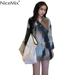 NiceMix Sommer Vintage Print Aquarell Bluse Frauen Shirt Langarm Damen Tops Und Blusen Blusas Femininas De Verao 2019