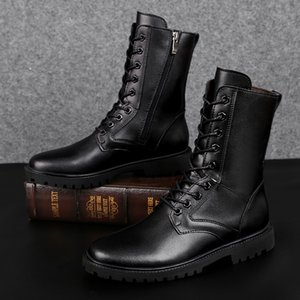 Autumn Winter Add Plush Warm Motorcycle Boots Male Pointed Toe Lace-up Martin Boots Men's Punk Ankle Boots Big Size 35-48