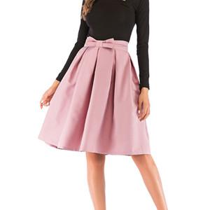 Womens Vintage casual dress knielangen pettiskirt mode europäischen und amerikanischen einfarbig hohe taille plissee bogen dress