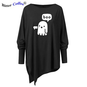NEW casual boo print t shirt women casual Long Batwing sleeve female Irregular women Tops cool fashion Blouse female Plus Size