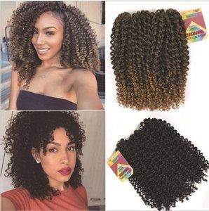 Bir kafa FreeTress Sentetik Saç 3XBraids Tığ Örgü Freetress Derin için 2-3 paketleri afro Jerry kıvırcık saç uzatma çevirin dalga