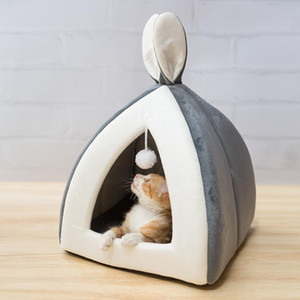 Kediler Köpekler Nest Katlanır Kedi Mağarası Sevimli Uyku Mats Kış Ürünleri için Pet Kedi Yatak Kapalı Kedi Evi Sıcak Küçük